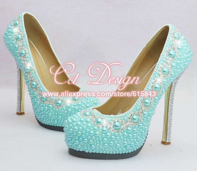 bd3c0bebed9cab free shipping by DHL custom make rhinestone and light blue bridal wedding  shoes evening prom high heel shoes