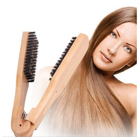 Straight Hair Comb High Quality Boar Bristle Hair Brush Styling Anti-static Comb V Type Hair DIY Salon Hairdressing Styling Tool Health & Beauty