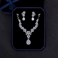 Romantic Heart Cut Zircon Necklace Wedding Bridal Jewelry Set Clear Cubic Zirconia Flower Pendant Dangle Earrings Bijoux Women