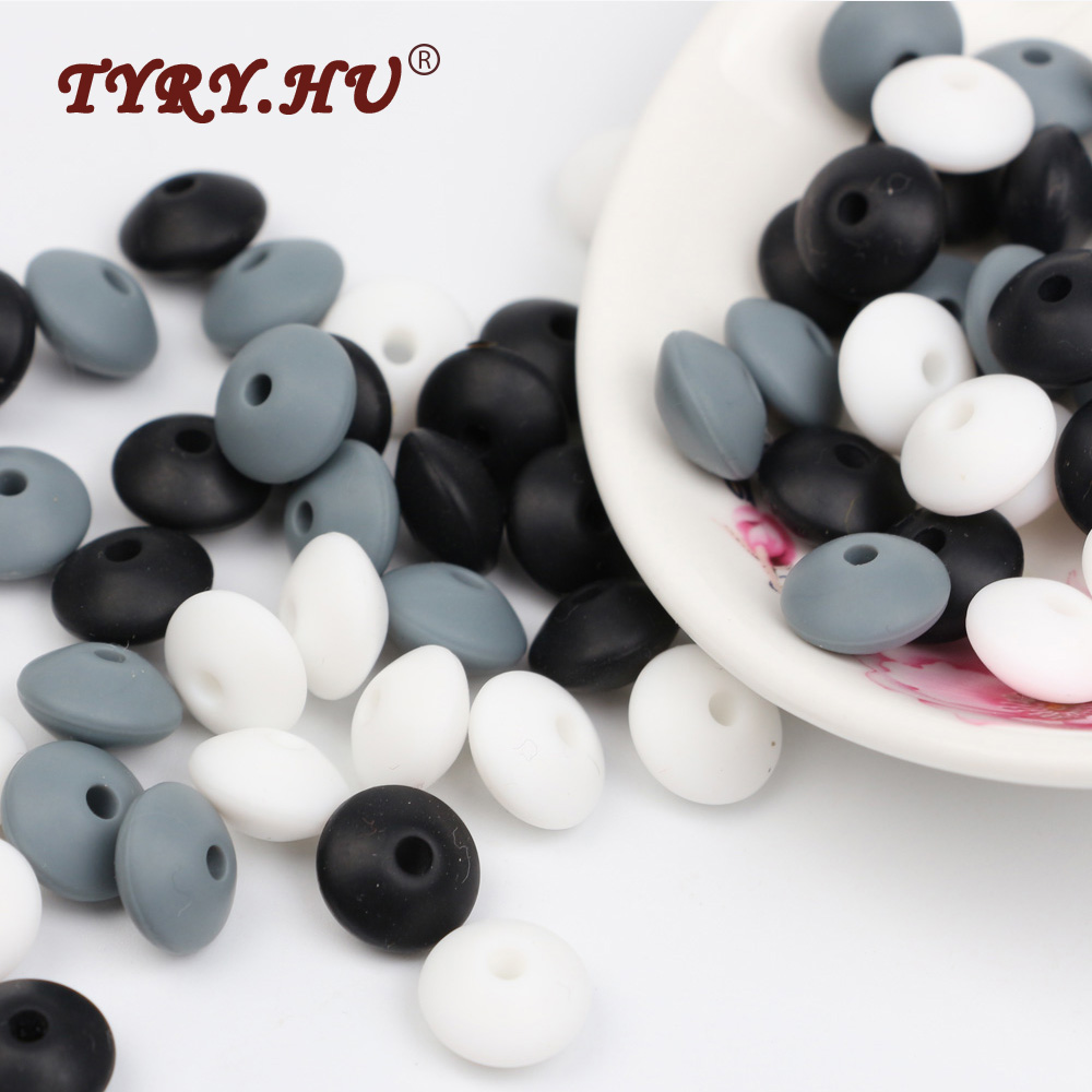 TYRY.HU Teething Chewable Silicone Beads BPA Free Abacus Baby Teethers 60Pcs Food Grade Babies Soother Chain Safe Feeding Tools