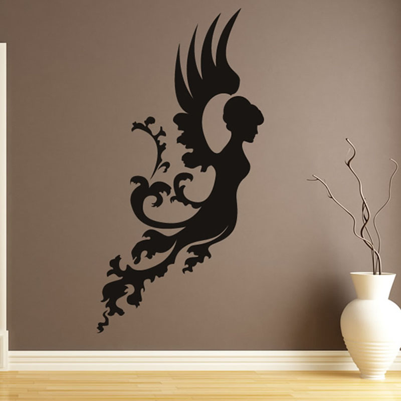 Aliexpress Buy Floral Angel Wall Stickers Waterproof Art Decal