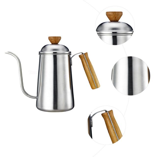 6500ML Stainless Steel Coffee Kettle Teapot Coffee Kettle Style wood