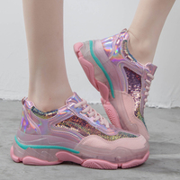 Glitter Chunky Sneakers Womens Sneakers 2019 Dad Sneakers Women Trainers Yellow Casual Shoes Woman Basket chaussures femme JA 29