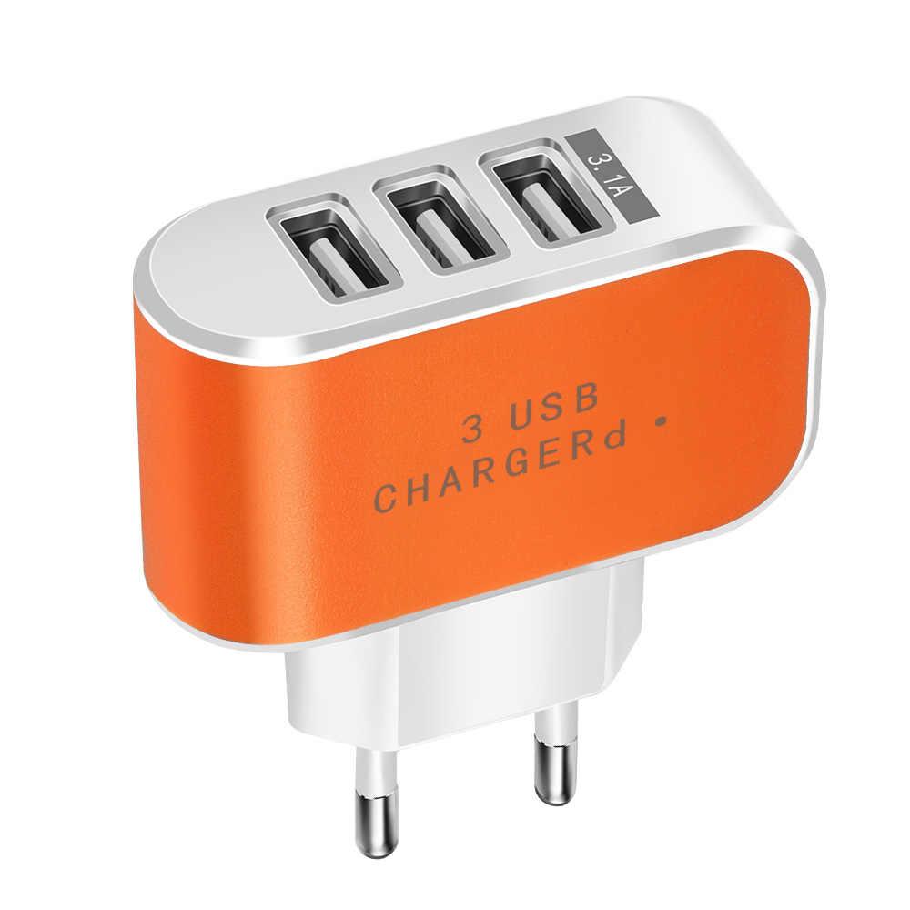 Doce Cor 5 V 3.1A 3USB Porto Início de Viagem Parede AC Poder carregador Adaptador USB Carregador DA UE Para Tablet Telefone Móvel xiomi Micro cabo