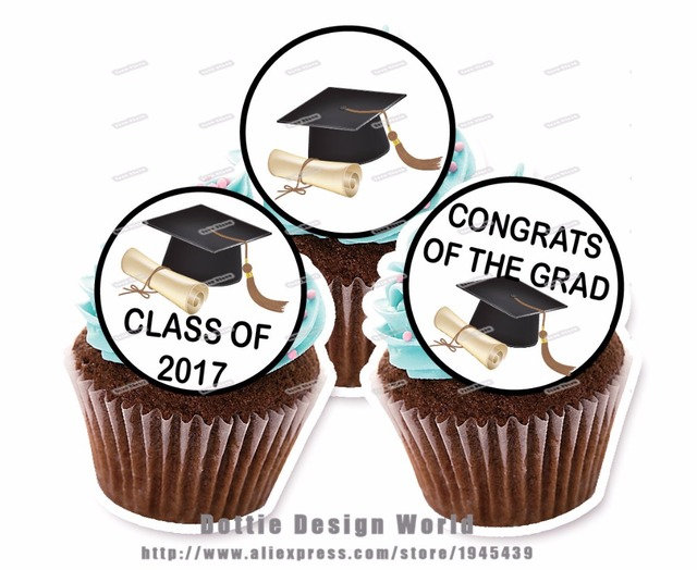 24 Graduation Edible Cake Topper Wafer Rice Paper Class Of 2017 Cake