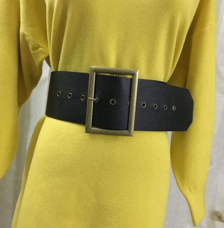 Women's Runway Fashion Gold Buckle Pu Leather Cummerbunds Female Dress Corsets Waistband Belts Decoration Wide Belt R1686