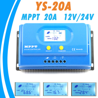 PowMr MPPT 20A Solar Controllers 12V 24V Auto Switch for Max 100V Solar Panel DC Input with 5V USB Output Solar Tracker Charger