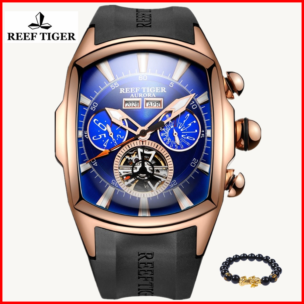 Reef Tiger RT Luxury Brand Waterproof Sport Watch Men Luminous Analog Tourbillon Silicone Watches Relogio Masculino