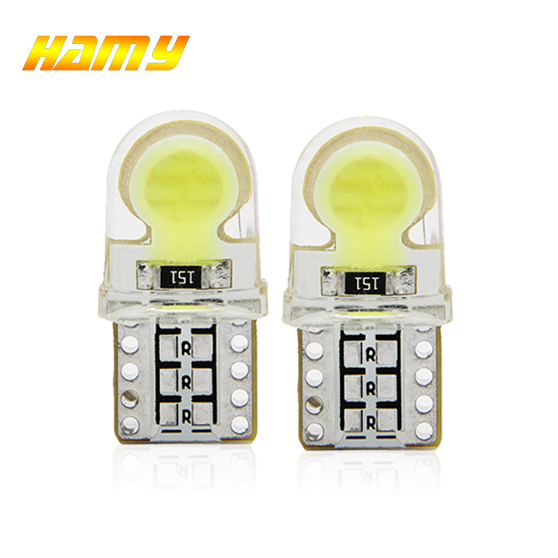 2x Car T10 W5W LED Signal Bulb COB Interior Dome Reading Light Auto License Plate Door Wedge Side Lamp 12V Super Bright White