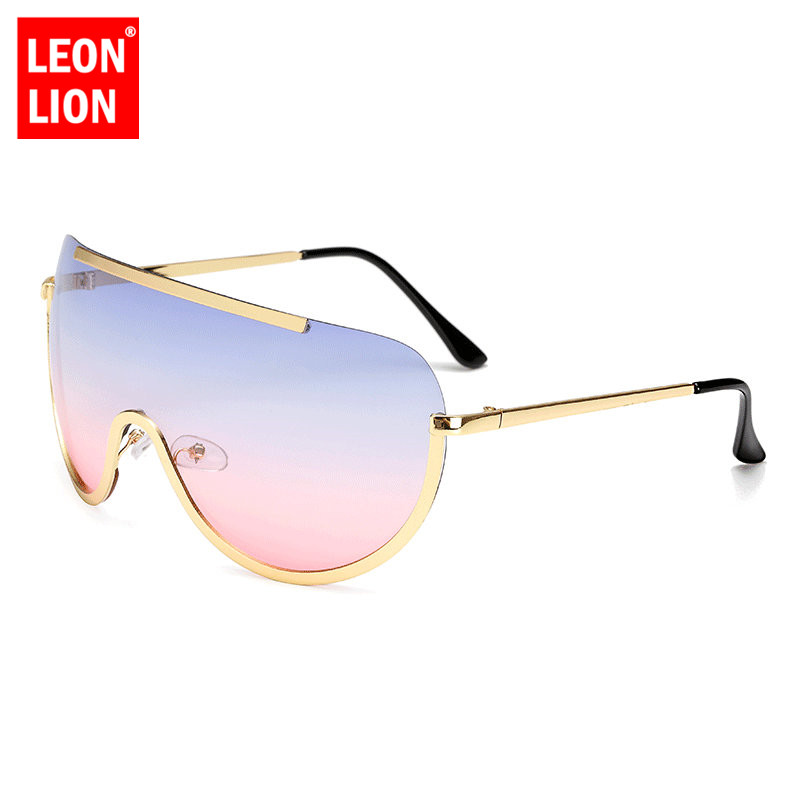 LeonLion One-piece Ocean Lens Sunglasses Women Classic Round Sun Glasses Metal Candy Colors Shopping Party Outdoor Eyeglasses