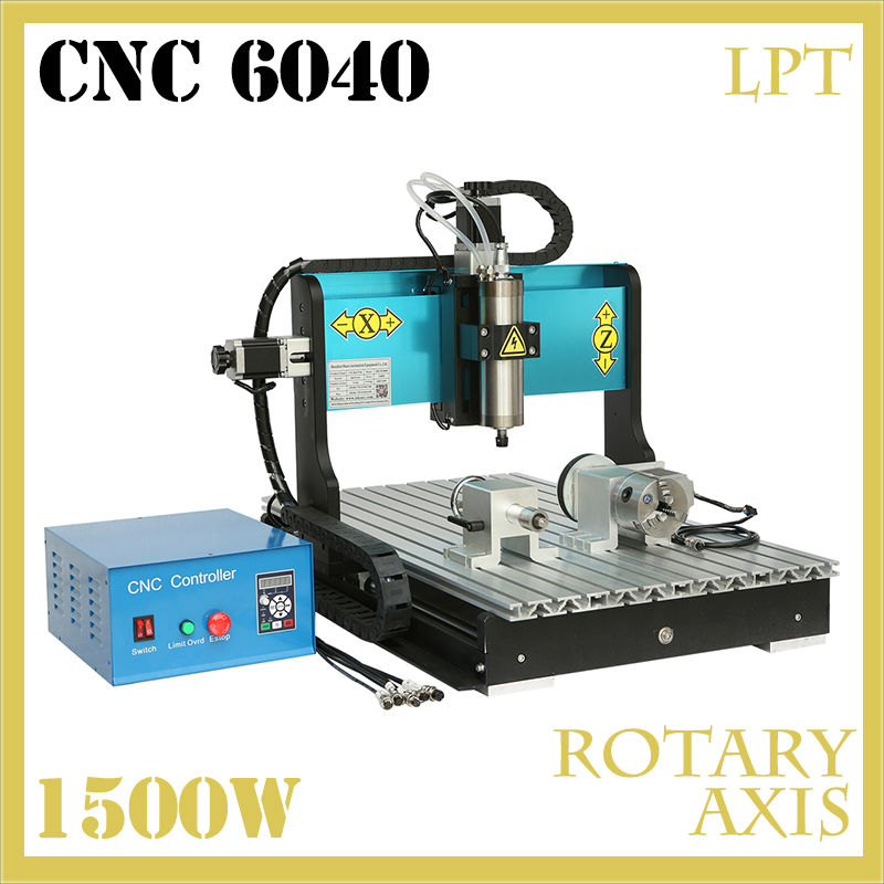 JFT New Type 4 Axis CNC Router Engraver Machine with Water Tank 1500W Spindle Motor With Parallel Port for Woodworking 6040 mini machine cnc with water tank cnc 6090 4 axis
