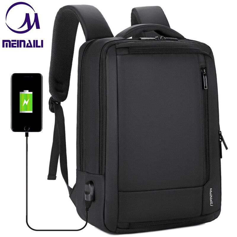 """תכליתי נגד גניבה 14 15.6 """"אינץ מחשב נייד תרמיל USB טעינה עמיד למים עסקי נסיעות חזרה חבילה בני בית ספר Bagpacks"""