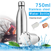 750ml Sports Water Bottle Single Wall Stainless Steel Uninsulated Steel Water Bottles Reusable Leak Spill Proof PBA Free gym cup