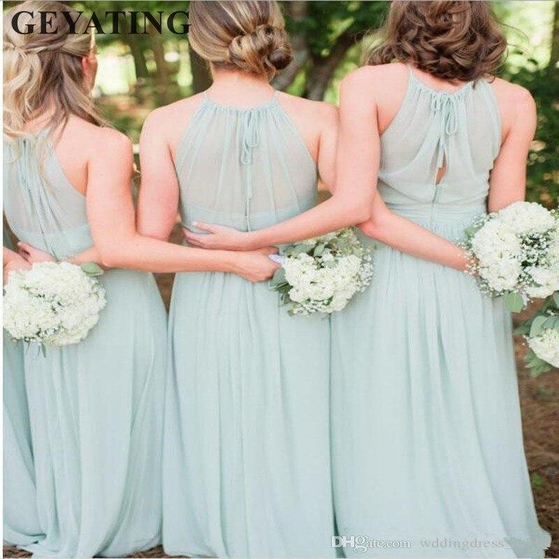 2018 Elegant Mint Green Bridesmaid Dresses Chiffon Ruffles Beach ...