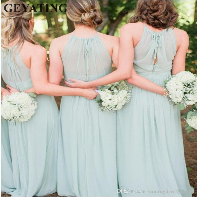 2019 Elegant Mint Green   Bridesmaid     Dresses   Chiffon Ruffles Beach Boho Long Country Wedding Party   Dress   for Women Maid of honor
