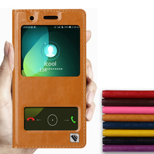 Hot!!! For Huawei Honor 4C High Quality Genuine Leather Cover Case Window Luxury Flip Stand Mobile Phone Bag