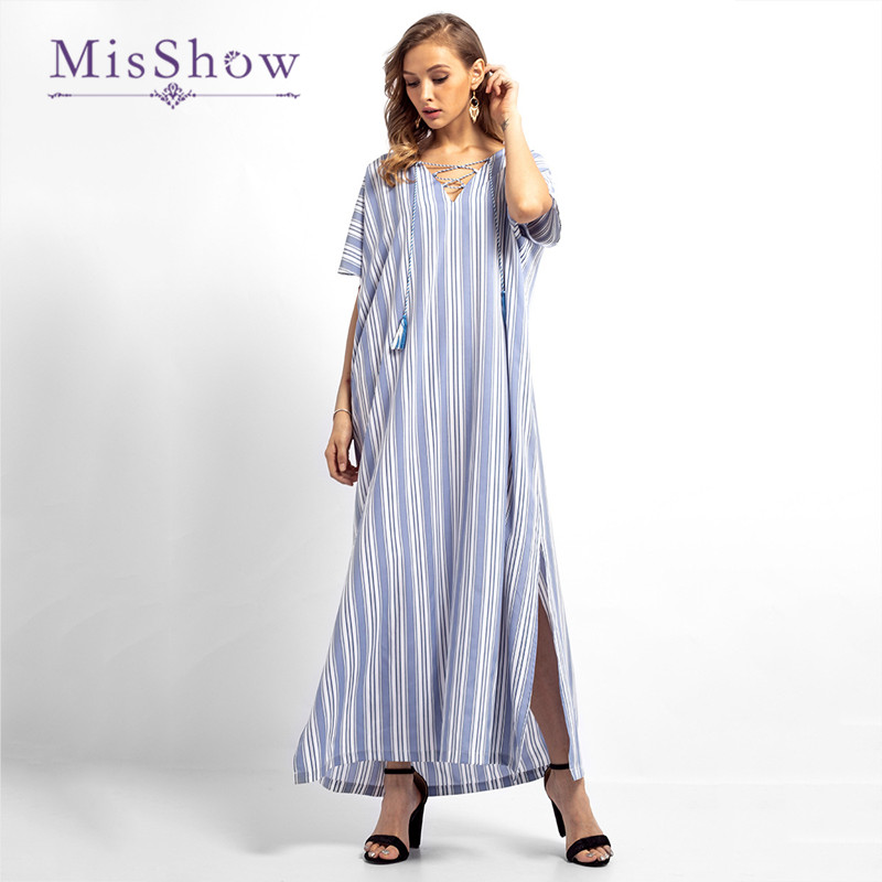 Misshow V Neck Floor Length Linen Dress Short Sleeve Criss Cross Women Dress Side Split Casual Dress Striped Muslim Dress