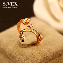2017 New Arrival Korea Style Crystal Rings Women Fashion Top Quality Star Finger Ring Girl Fresh Jewelry Accessory XH-RG016