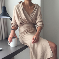 2018 Women Elegant Long Sleeve Sexy V Neck Linen Cotton Blend Wraps Split Slim Shirt Dress