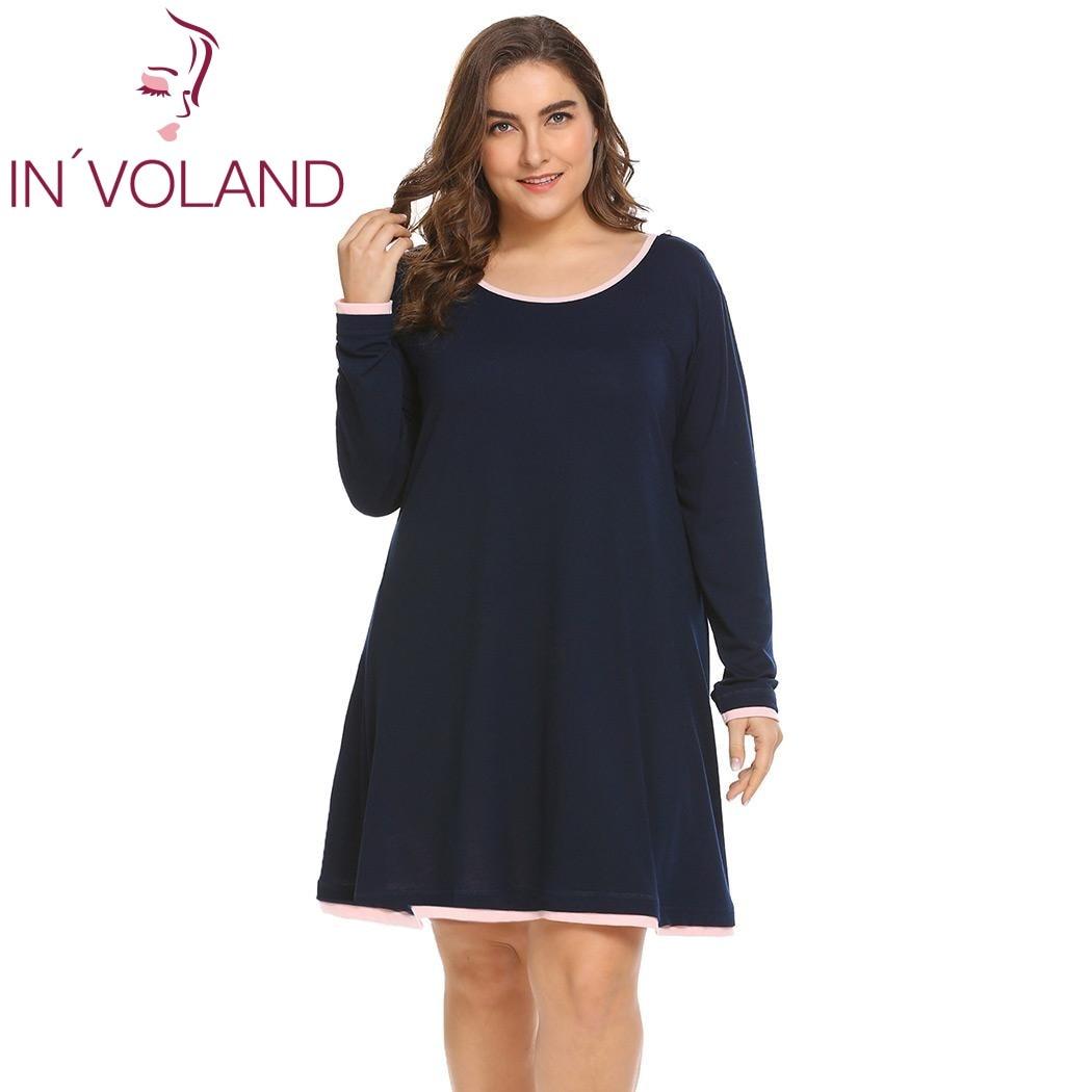 INVOLAND Plus Size Women Sleepwear Dress XL-5XL Spring Autumn Lounge Nightgowns Sleepshirt Loose Dresses Vestidos Fit Big Size