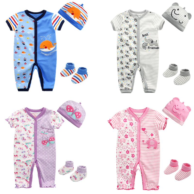 3PCS/Lot Baby Romper+Hat+Socks Girls Clothes Clothing Sets Cotton Baby Boy Clothes Short Sleeve Baby Girl Clothes Newborn Infant 1