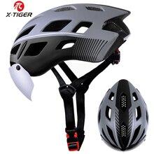 X-TIGER велосипедный шлем EPS сетка от насекомых дорожный MTB велосипедный шлем ветрозащитный 2 линзы цельный литой велосипедный шлем