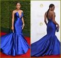 2016 Keke Palmer premios Emmy Red Carpet Celebrity Dresses sirena azul real Vestido de noche con cuello en V Party Vestido de fiesta Vestido Longo