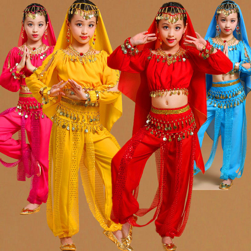 Girls Belly Dancing Costume Set Kids Indian Dance Performance Outfits Children Bellydance Competition Girl Egypt Dance Costume
