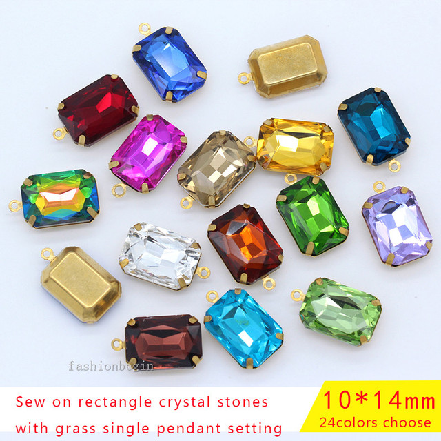 20p 14x10mm color brass SET FACETED FRAMED GLASS BAGUETTE EARRING NECKLACE  FINDINGS CONNECTOR PENDANTS BEADS 1loop jewelry craft 9c5d713292bf