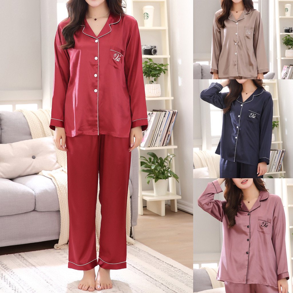 Red Solid Polyester Lapel Women Ladies' Casual Spring Pure Color Long-Sleeved Comfortable Home Pyjamas Set #G40
