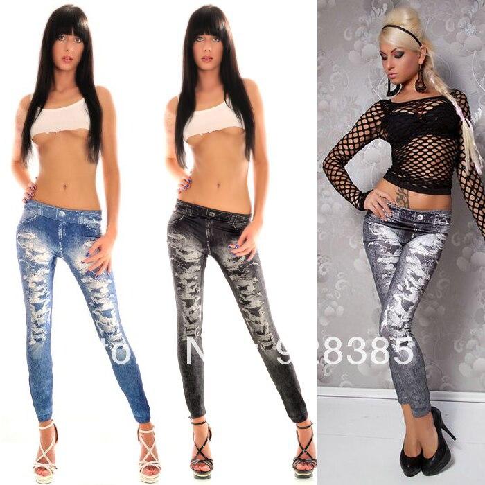 Printed ripped leggings