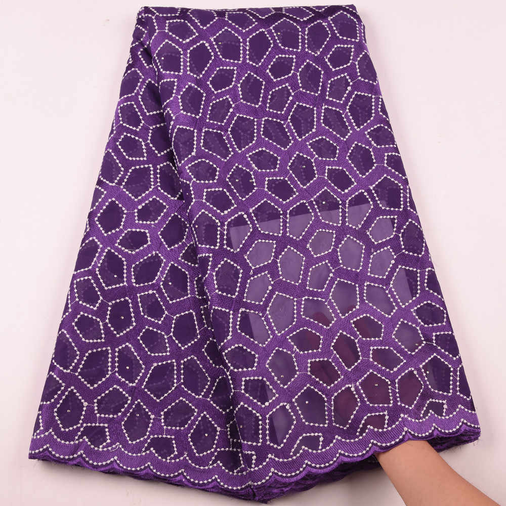 Cotton Nigerian Swiss Lace Dry Lace High Quality Purple Swiss Voile Lace In Switzerland African Lace Fabric With Stones S1616