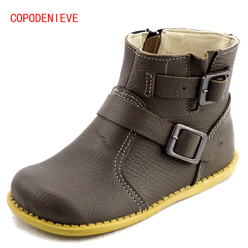 COPODENIEVE The winter of the children shoes girl casual shoes natural leather casual shoes boots shoes breathable boy ...