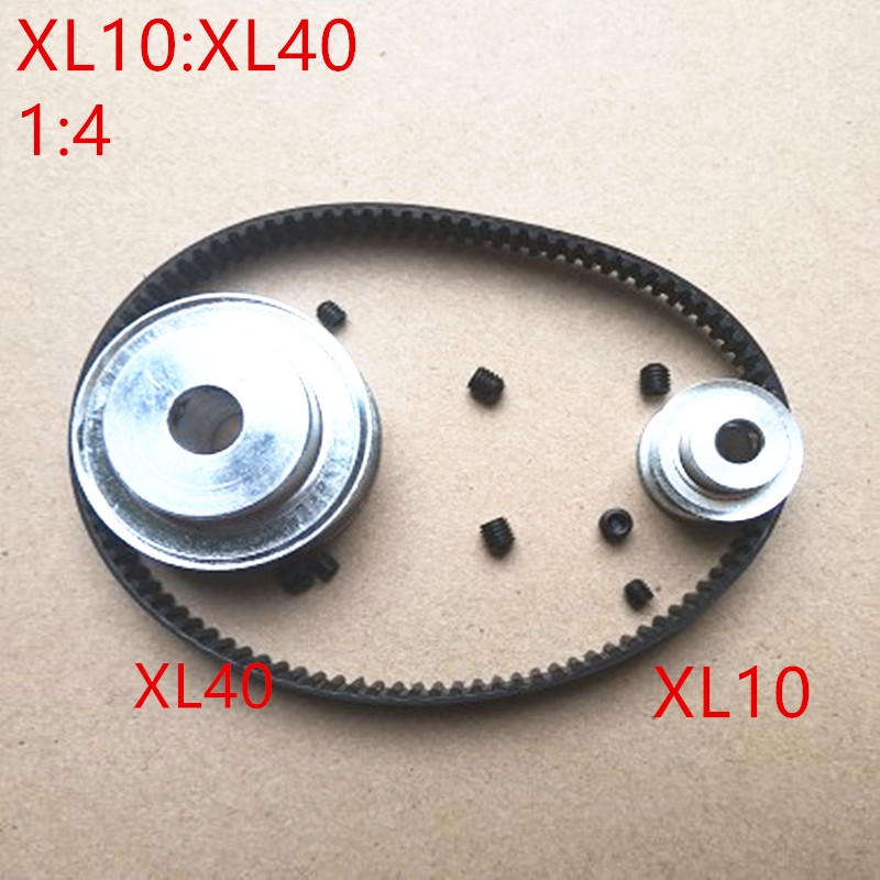 1 pair Timing Belt Pulley XL reduction 1:4/4:1 40T 10T Center Distance 100mm Belt Gear Kit With 132XL Timing Belt Pulley Set цена
