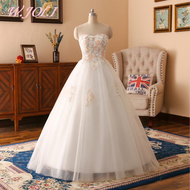 Elegant Embroidery Embellishment Ball Gown Traditional: W.JOLI Newest Long Wedding Dresses Elegant Appliques