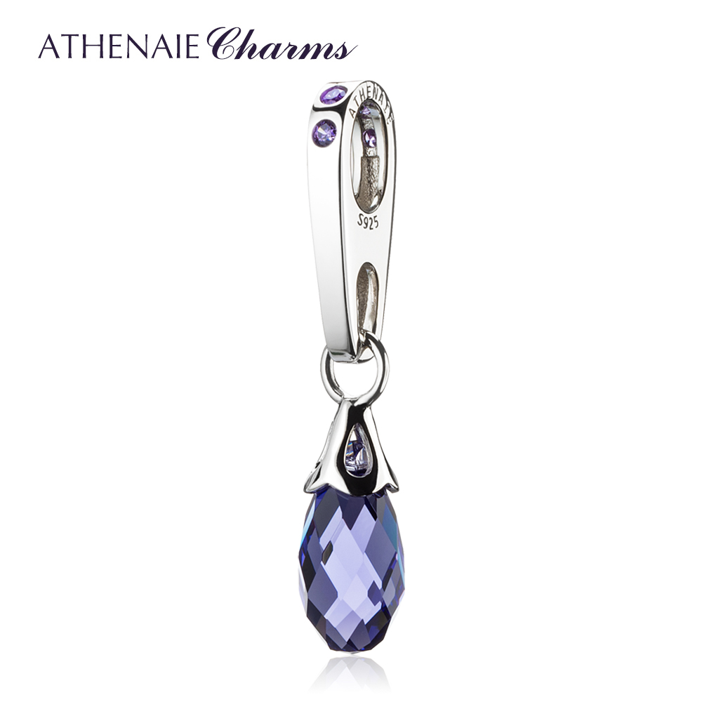 ATHENAIE 925 Sterling Silver Briolette Austrian Crystal Pendant Drops Fit All European Bracelets Color Red