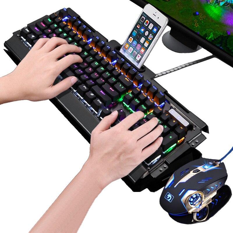 Fashion 104 Keys Real Mechanical Keyboard Blue Black Switch Rainbow LED Backlit Computer Gaming Keyboard+New Pro Gaming Mouse