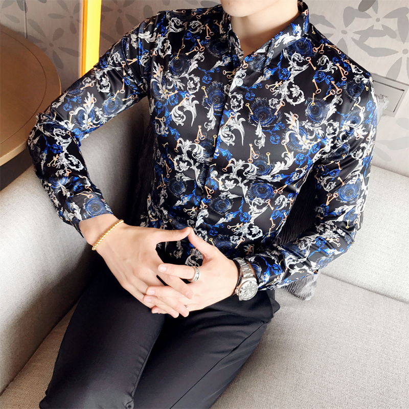 2017 Luxury British Style Shirts Mens Flowers Shirts Royal Baroque Shirts Vintage Social Club Outfits Fancy Camisa Slim fit ...