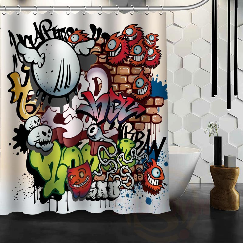 Best Nice Custom Graffiti Art Shower Curtain Bath Waterproof Fabric For Bathroom MORE SIZE WJY109 In Curtains From Home Garden On