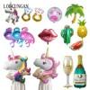 Hawaiian Flamingo Party Unicorn Foil Balloon Diy Wedding Decoration Bride Bridal Party Baby Shower Festive Event Party Supplies