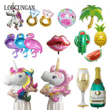 Hawaiian Flamingo Party Unicorn Foil Balloon Diy Wedding Decoration Bride Bridal Party Baby Shower Festive Event Party Supplies(China)