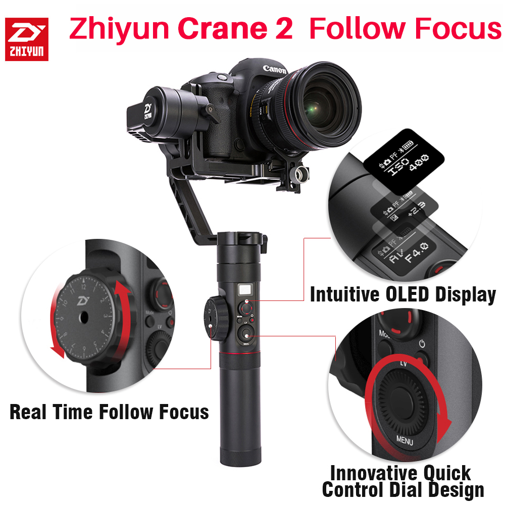 Zhiyun Official Crane 2 Handheld Camera Stabilizer 3-Axis Gimbal for All Models of DSLR Mirrorless Camera for Canon 5D2/5D3/5D4 zhiyun crane 3 axis handheld gimbal stabilizer 360 motors degree moving gimbal vs beholder ds1 ms1 nebula 4000 lite for dslr