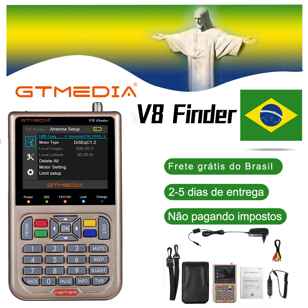 GTMEDIA V8 DVB-S2 DVB-S2X FTA Digital Satellite Finder Medidor SatFinder HD 1080P Ferramenta de ACM Sentou Localizador Localizador de Satélite lnb sinal