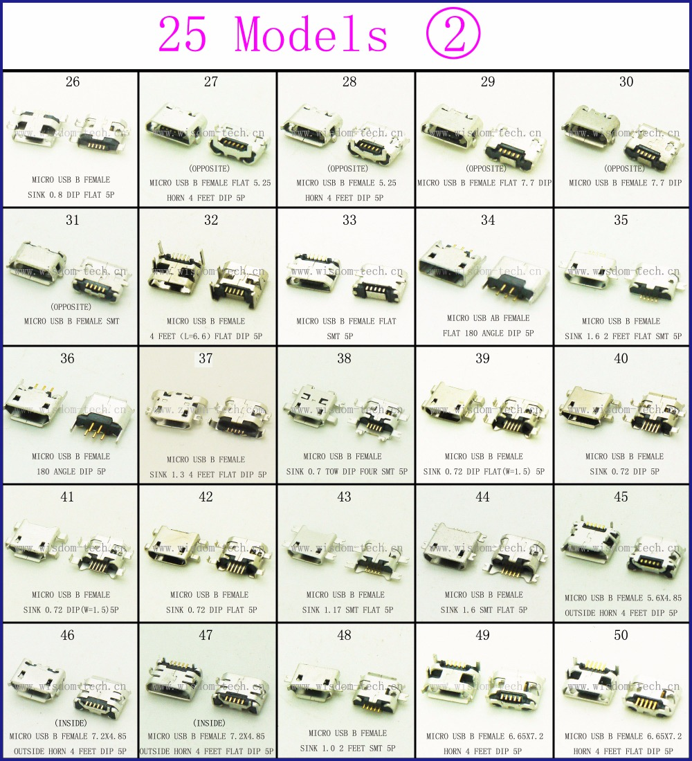 Free Shipping New 250pcs Lot 25models Micro Usb Connector