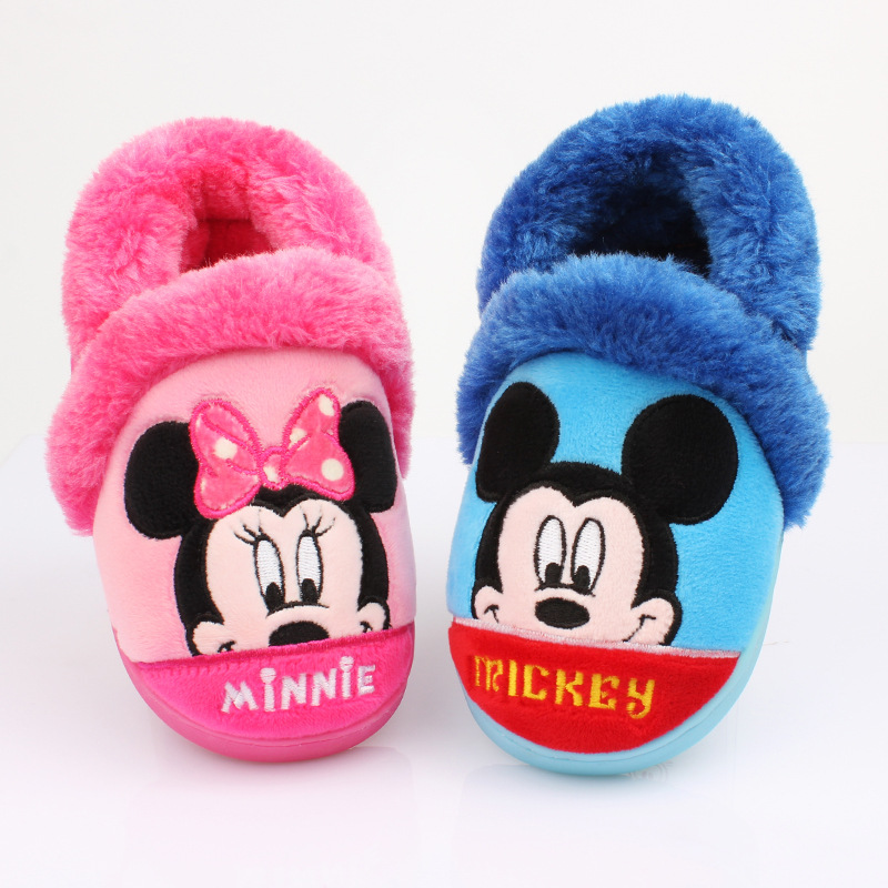 Disney Children's Cotton Slippers Winter Baby Non-slip Warm Shoes Boys And Girls Indoor Home Shoes Cotton Shoes