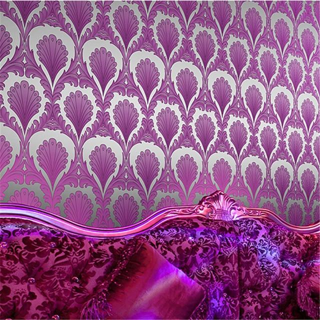 Modern Contact Paper Stereoscopic Gold Foil Wallpaper Vinyl Damask Wall Murals Roll Purple Wallcoverings Green Sticker