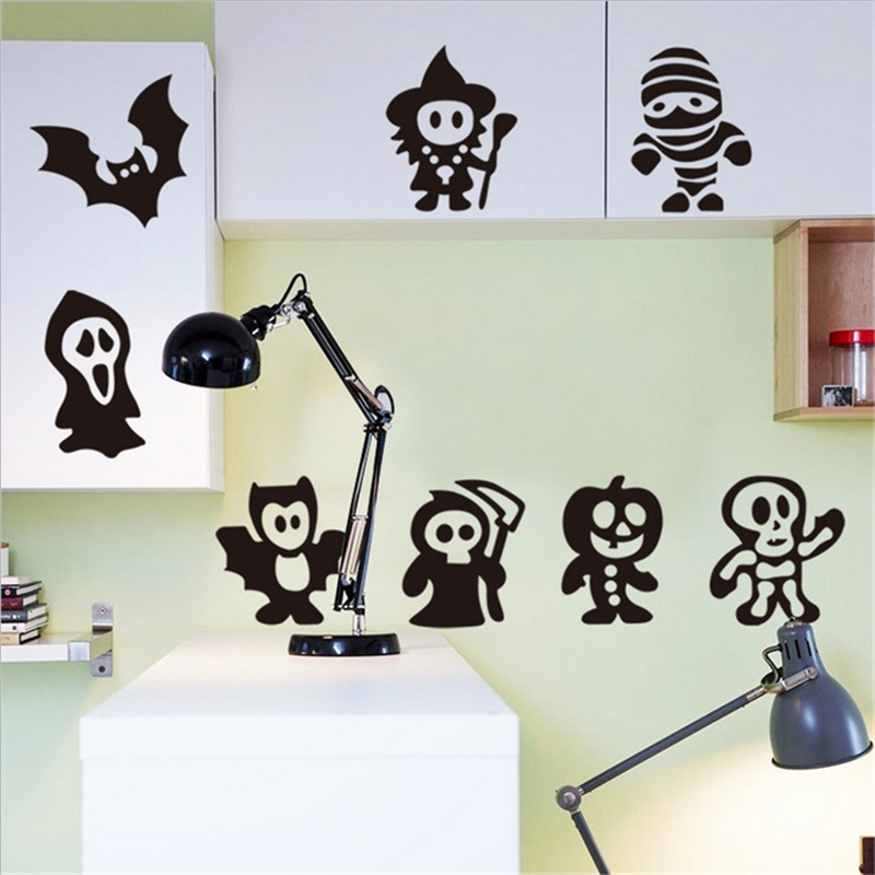 1pcs halloween pattern diy vinyl wall stickers for kids rooms wall decor sofa background muurstickers wallpaper