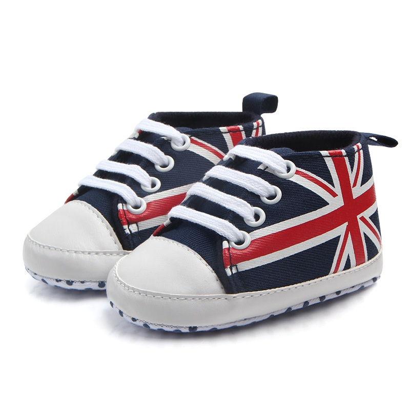 Spring And Autumn Flag Lace Canvas Shoes Toddler Rope Soled Shoes Hot Union Jack Pattern Baby Shoes