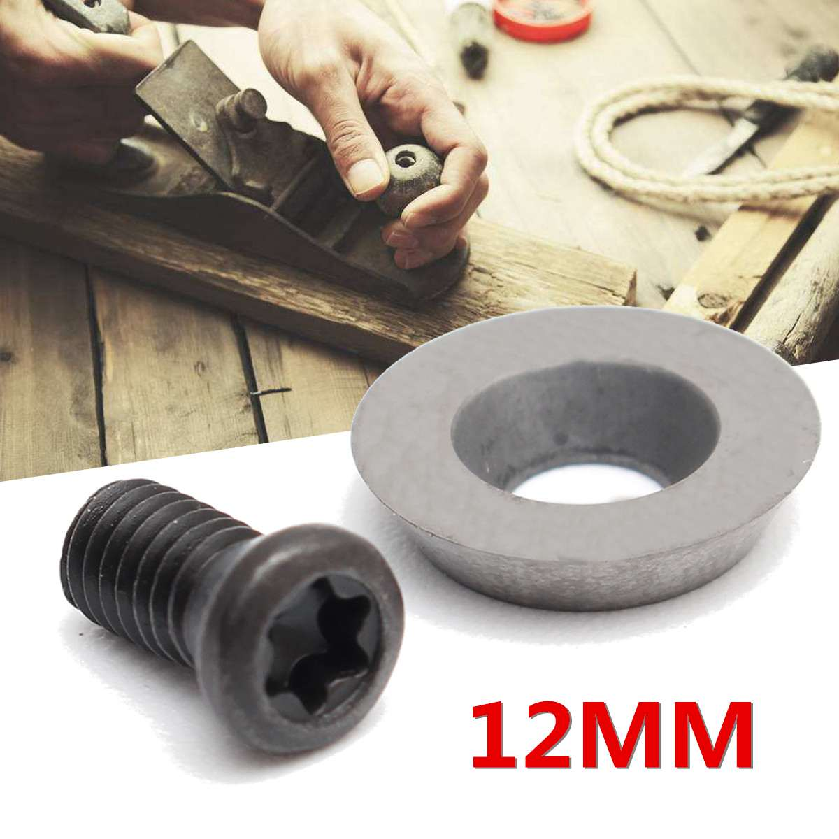 10Pcs 12mm Round Carbide Insert Cutter With Screws For Ci3 Wood Turning Tool