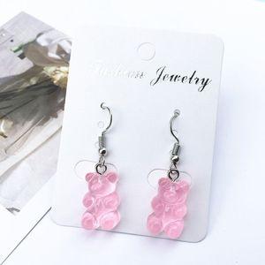 1 Pair Creative Cute Mini Gummy Bear Earrings Minimalism Cartoon Design Female Ear Hooks Danglers Jewelry Gift(China)